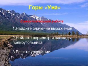 Горы «Ума» Самостоятельная работа 1.Найдите значение выражения 2.Найдите пери