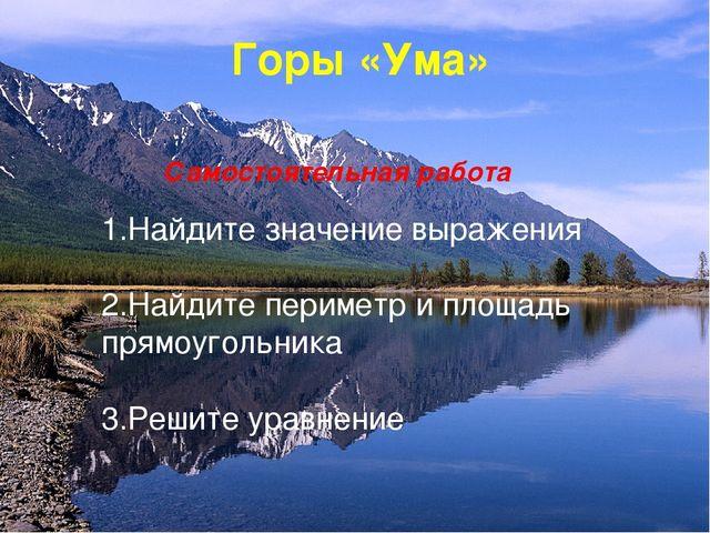 Горы «Ума» Самостоятельная работа 1.Найдите значение выражения 2.Найдите пери...