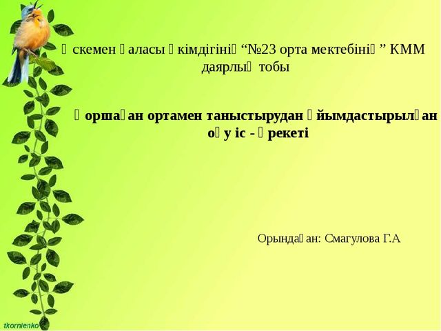 """Өскемен қаласы әкімдігінің""""№23 орта мектебінің"""" КММ даярлық тобы Қоршаған ор..."""