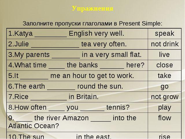 Упражнения Заполните пропуски глаголами в Present Simple: 1.Katya ________ En...