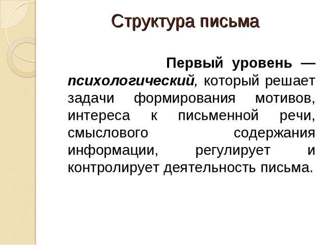 Структура письма Первый уровень — психологический, который решает задачи форм...
