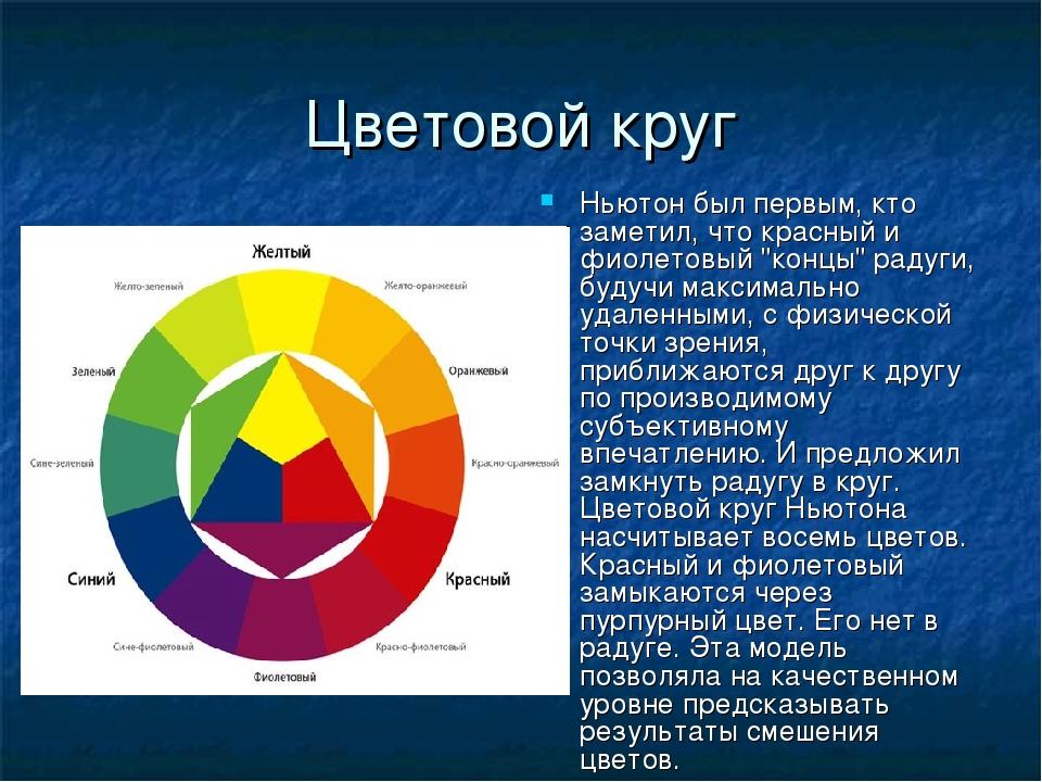 """Цветовой круг Ньютон был первым, кто заметил, что красный и фиолетовый """"концы..."""