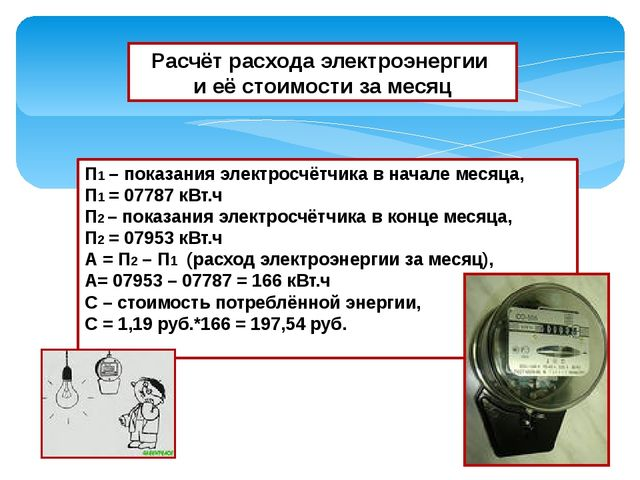 Расчёт расхода электроэнергии и её стоимости за месяц П1 – показания электрос...