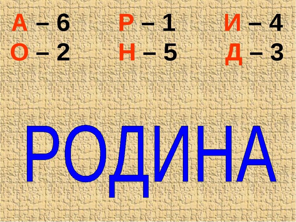 А – 6 Р – 1 И – 4 О – 2 Н – 5 Д – 3