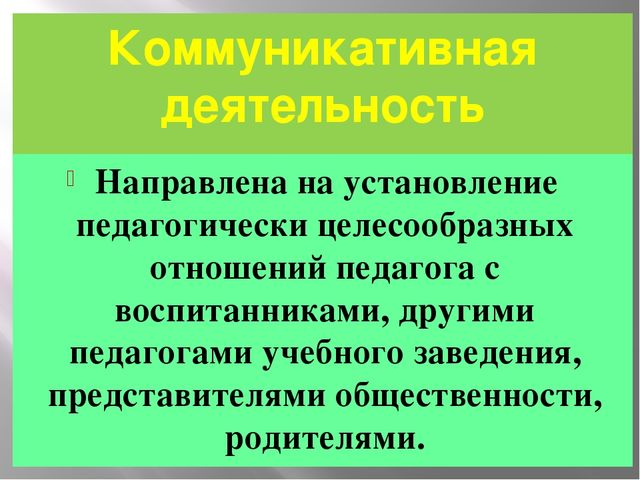 Коммуникативная деятельность Направлена на установление педагогически целесоо...