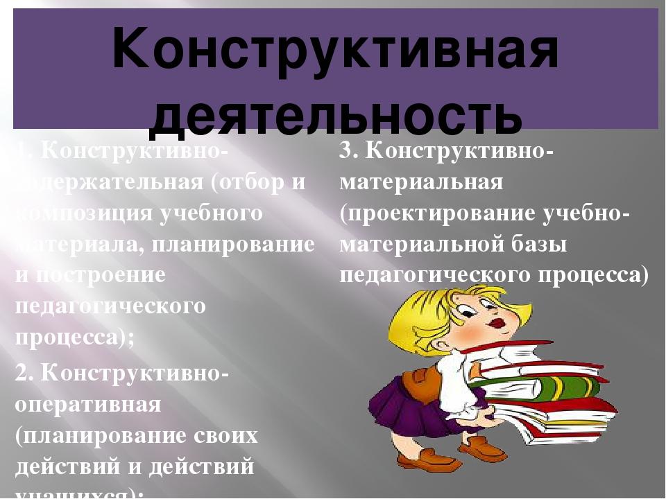 Конструктивная деятельность 1. Конструктивно-содержательная (отбор и композиц...