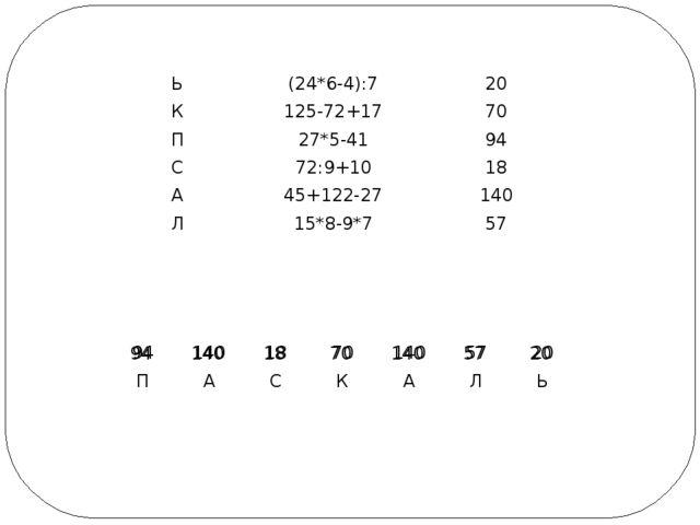 Ь (24*6-4):7 20 К 125-72+17 70 П 27*5-41 94 С 72:9+10 18 А 45+122-27 140 Л 15...