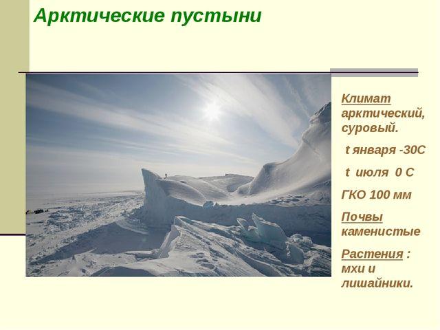 Арктические пустыни Климат арктический, суровый. t января -30С t июля 0 С ГКО...