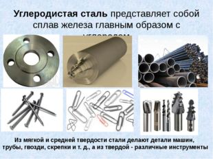 Углеродистая сталь представляет собой сплав железа главным образом с углеродо
