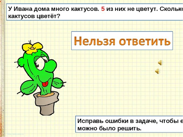 У Ивана дома много кактусов. 5 из них не цветут. Сколько кактусов цветёт? Исп...