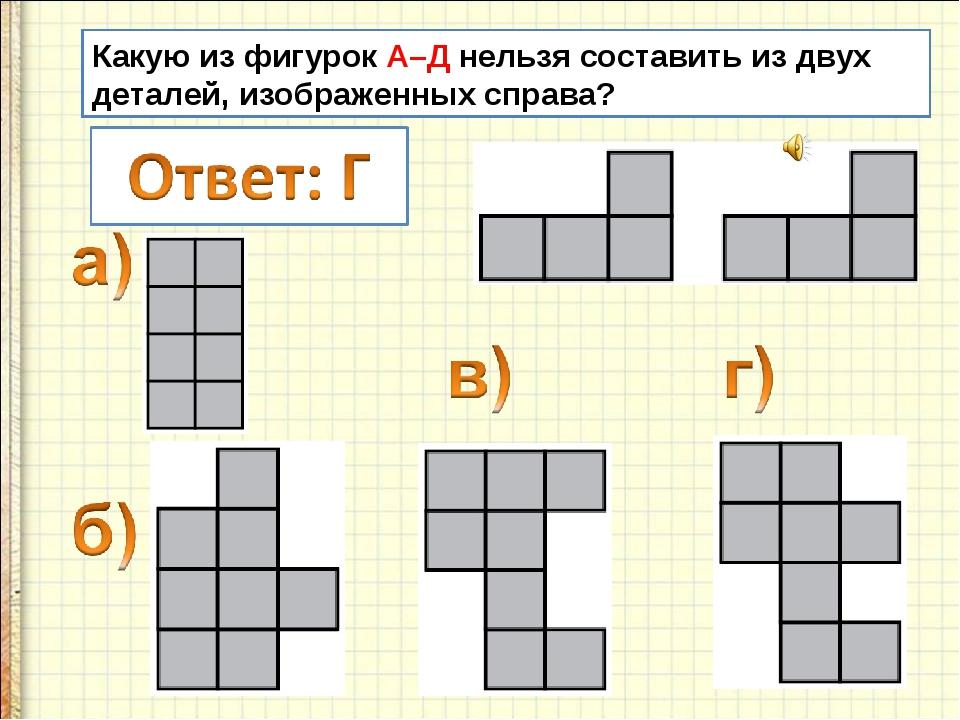 Какую из фигурок А–Д нельзя составить из двух деталей, изображенных справа?