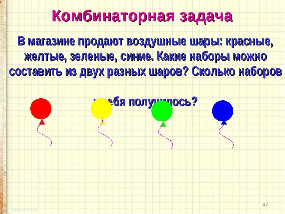 * В магазине продают воздушные шары: красные, желтые, зеленые, синие. Какие н...