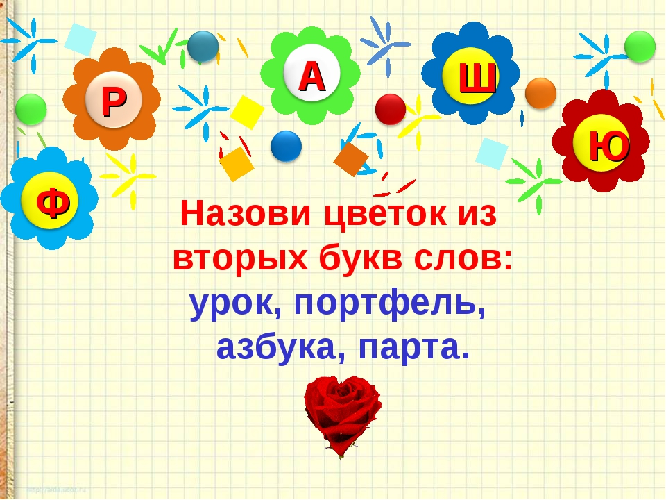 Назови цветок из вторых букв слов: урок, портфель, азбука, парта.