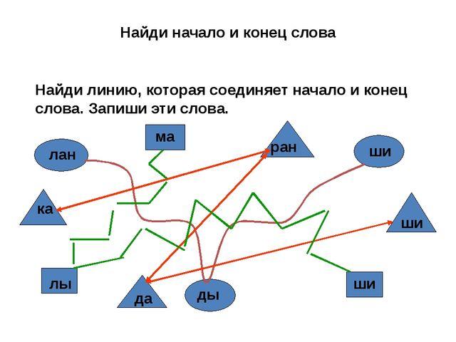 Найди начало и конец слова Найди линию, которая соединяет начало и конец слов...