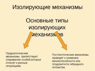 Изолирующие механизмы Основные типы изолирующих механизмов Предзиготические м