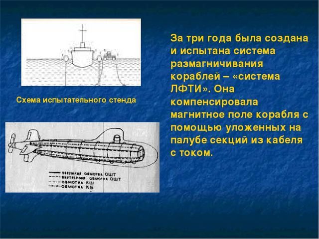 За три года была создана и испытана система размагничивания кораблей – «систе...