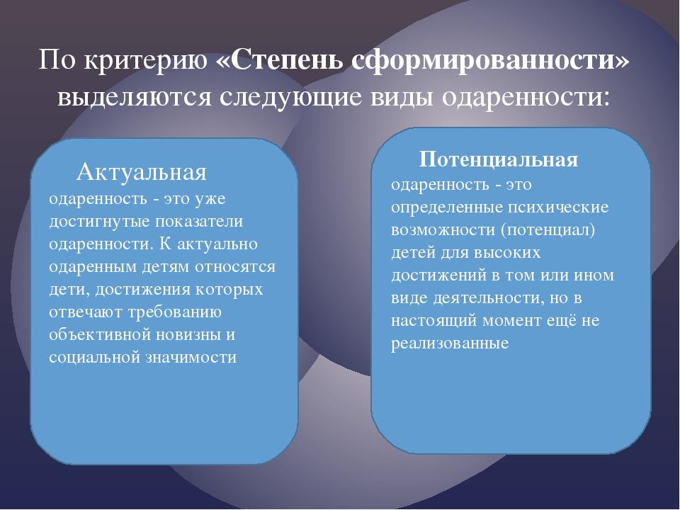 По критерию «Степень сформированности» выделяются следующие виды одаренности:...