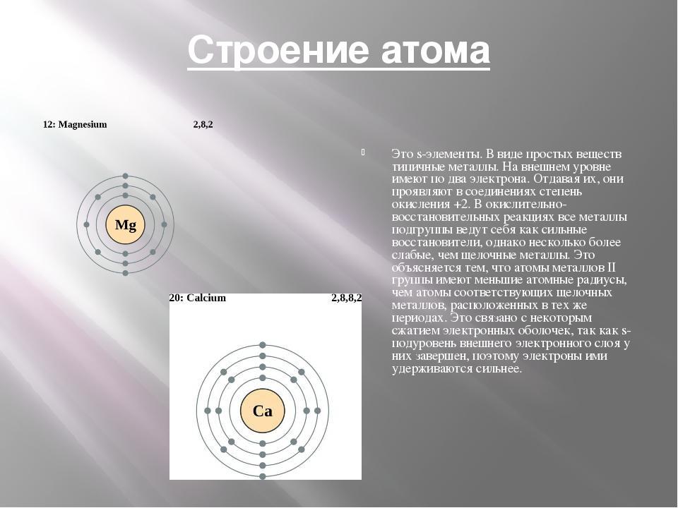 Строение атома Это s-элементы. В виде простых веществ типичные металлы. На вн...