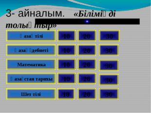 Қазақ тілі Қазақ әдебиеті Математика Қазақстан тарихы Шет тілі 20 10 30 10 1