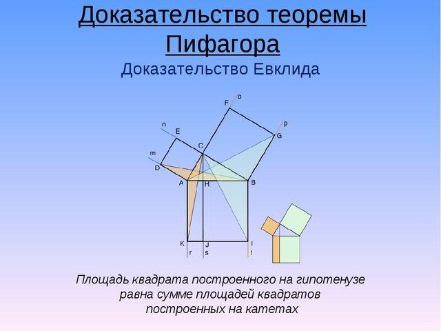 Площадь квадрата построенного на гипотенузе равна сумме площадей квадратов по...
