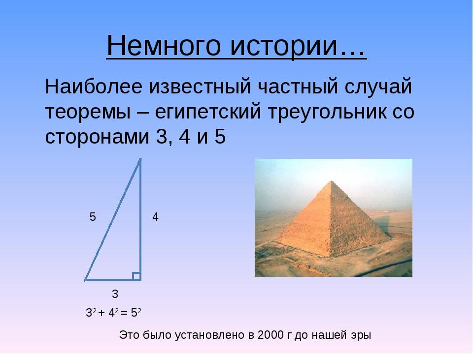 Немного истории… Наиболее известный частный случай теоремы – египетский треуг...