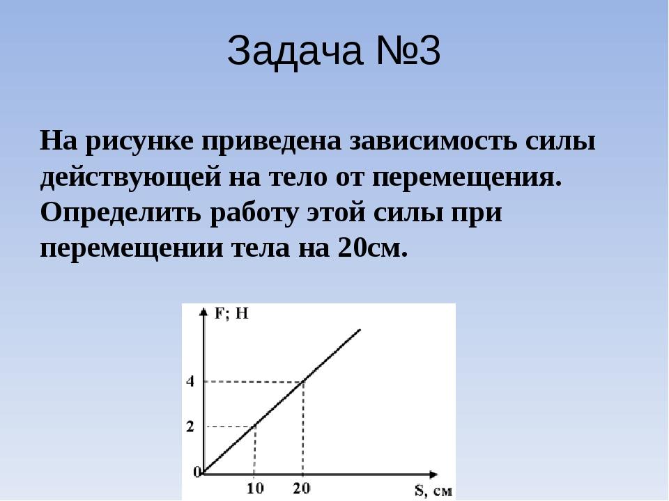 Задача №3 На рисунке приведена зависимость силы действующей на тело от переме...