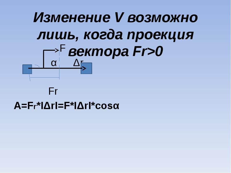 Изменение V возможно лишь, когда проекция вектора Fr>0 F α Δr Fr A=Fr*IΔrI=F*...