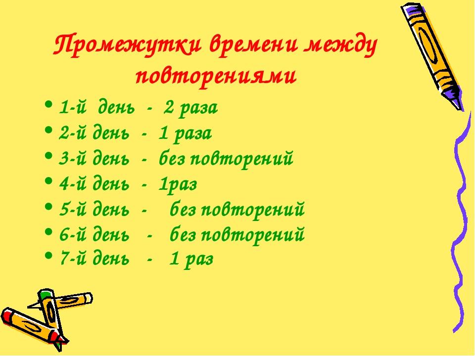 Промежутки времени между повторениями 1-й день - 2 раза 2-й день - 1 раза 3-й...