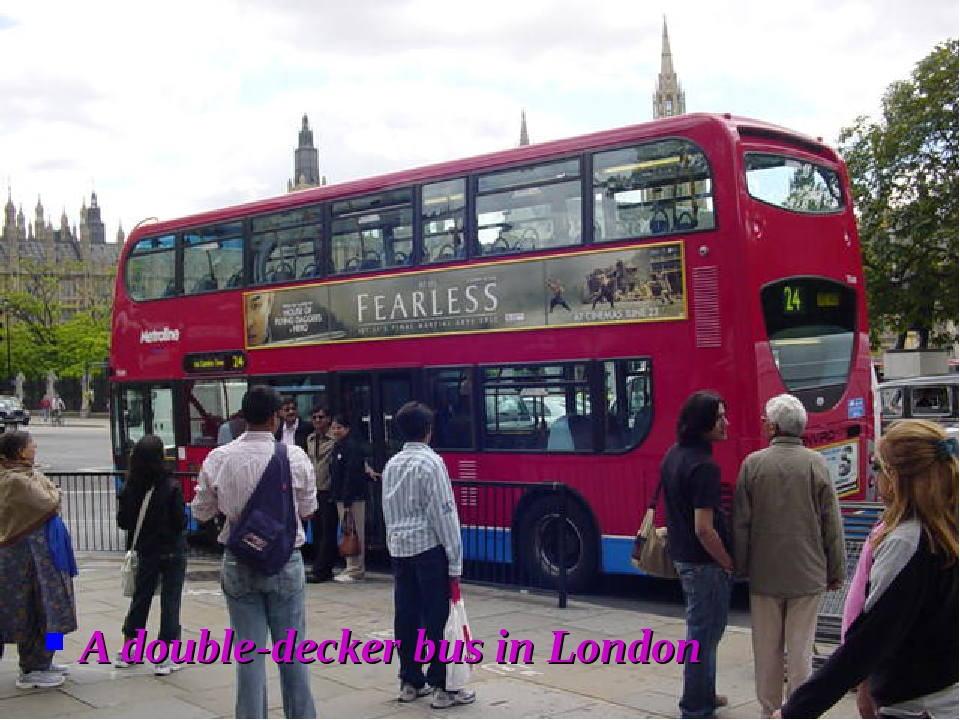 A double-decker bus in London