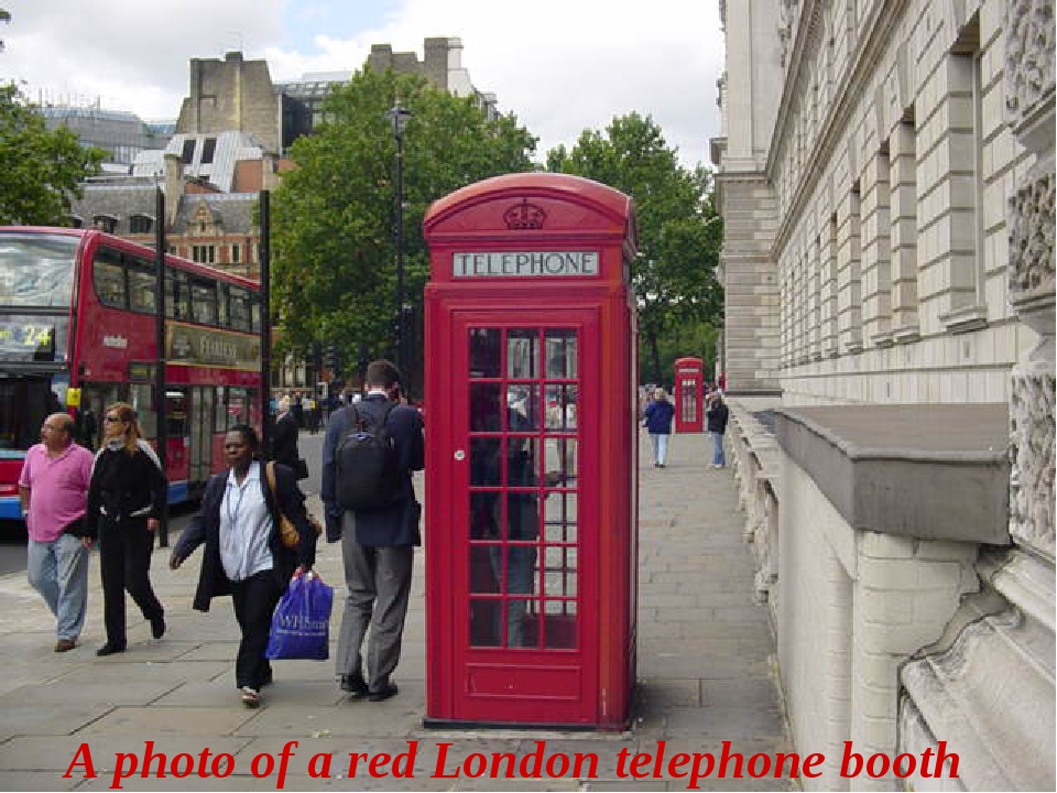 A photo of a red London telephone booth
