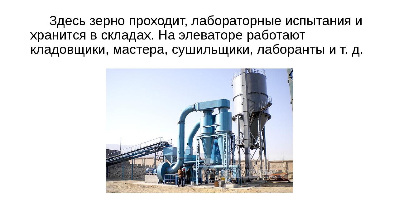 Здесь зерно проходит, лабораторные испытания и хранится в складах. На элеват...