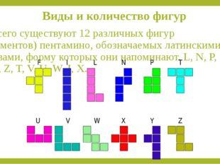 Виды и количество фигур Всего существуют 12 различных фигур (элементов) пента
