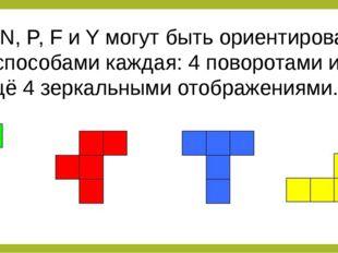 L, N, P, F и Y могут быть ориентированы 8 способами каждая: 4 поворотами и ещ