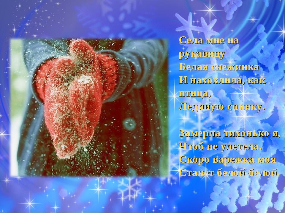 Села мне на рукавицу Белая снежинка И нахохлила, как птица, Ледяную спинку. ...