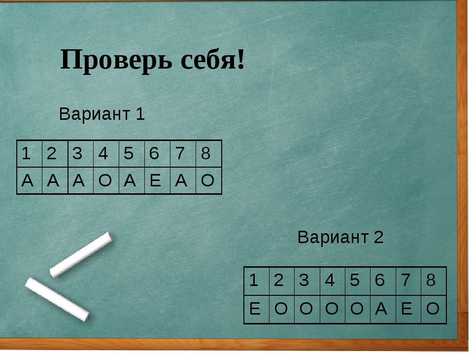 Проверь себя! Вариант 1 Вариант 2 12345678 АААОАЕАО 123456...