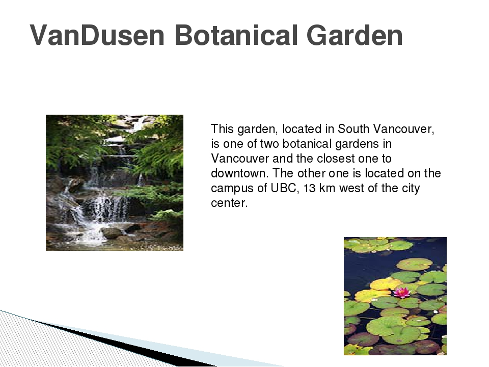 VanDusen Botanical Garden This garden, located in South Vancouver, is one of...