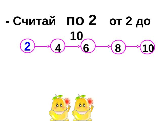 - Считай по 2 от 2 до 10 4 6 8 10 2