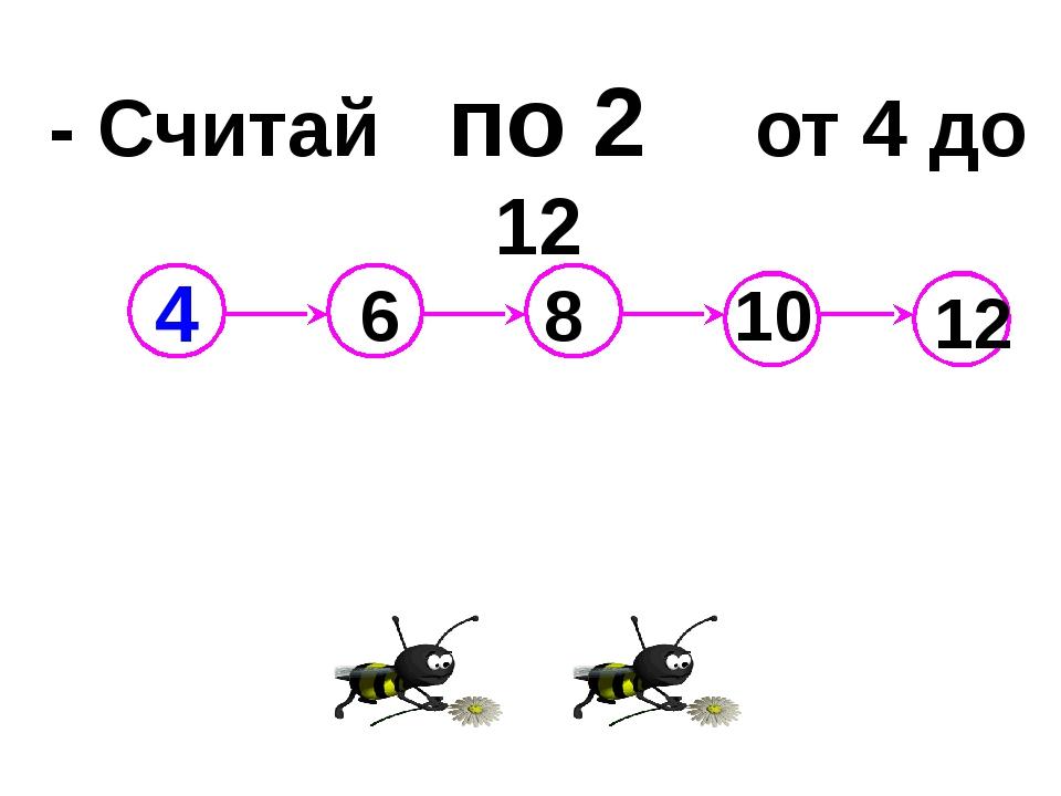 - Считай по 2 от 4 до 12 6 8 10 12 4