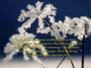 Каждая снежинка неповторима, со своей великолепной конструкцией, единственная