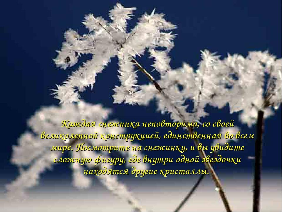 Каждая снежинка неповторима, со своей великолепной конструкцией, единственная...