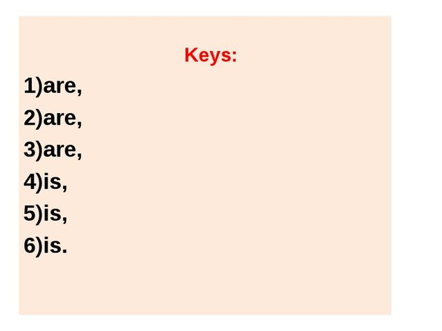 Keys: are, are, are, is, is, is.