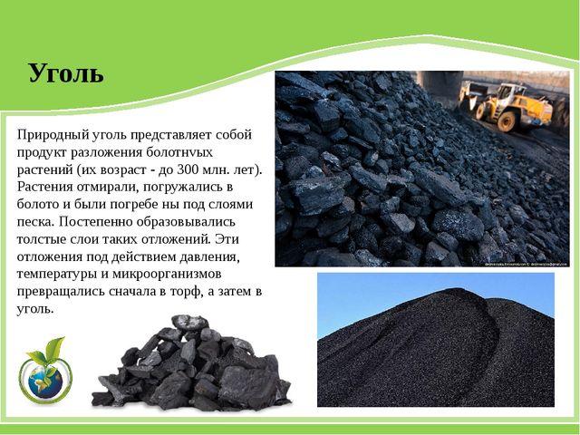 Природный уголь представляет собой продукт разложения болотнvых растений (их...