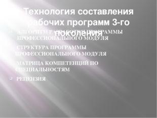 Технология составления рабочих программ 3-го поколения АЛГОРИТМ РАЗРАБОТКИ ПР