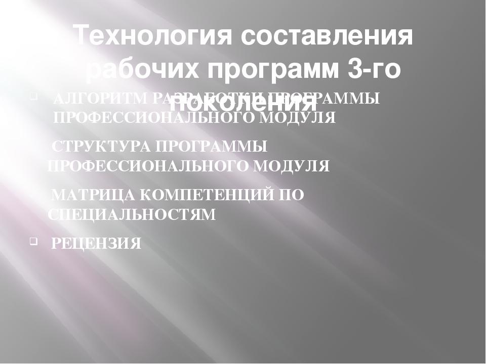 Технология составления рабочих программ 3-го поколения АЛГОРИТМ РАЗРАБОТКИ ПР...