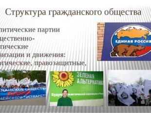 Структура гражданского общества Политические партии - Общественно- политическ