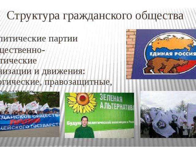 Структура гражданского общества Политические партии - Общественно- политическ...