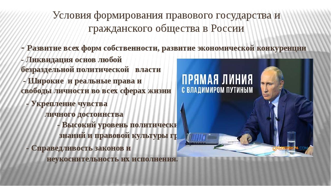 Условия формирования правового государства и гражданского общества в России -...