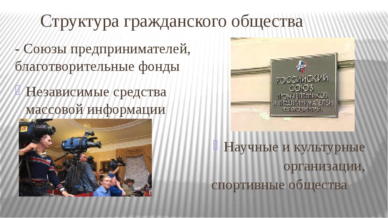 Структура гражданского общества - Союзы предпринимателей, благотворительные ф...
