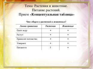 Тема: Растения и животные. Питание растений. Прием «Концептуальная таблица» Ч