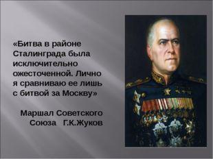 «Битва в районе Сталинграда была исключительно ожесточенной. Лично я сравнива
